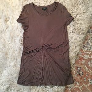 Anthropologie Olive Green Gathered T-Shirt Dress